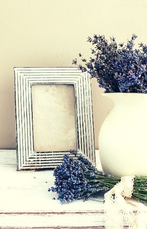 rustic picture frame and vase