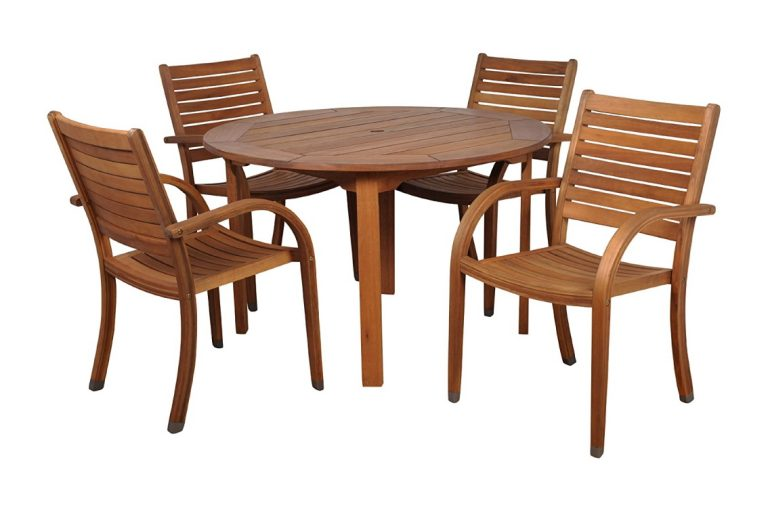 5 Wooden Patio Tables and Chairs