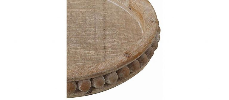 Decorative Round Bleached Wooden Tray